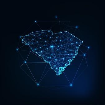 Caroline du sud usa map contour silhouette rougeoyante faite d'étoiles lignes points triangles