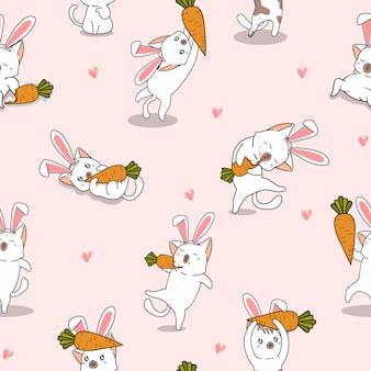 Carotte et chat lapin modèle sans couture