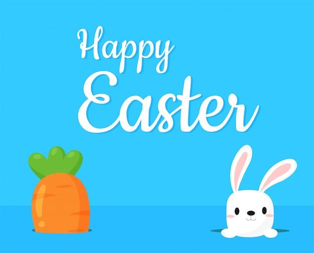 Carotte géante avec un lapin mignon avec un joyeux message de pâques