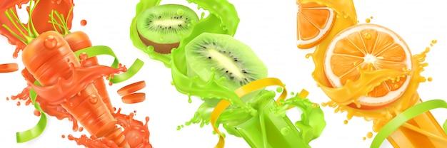Carotte, kiwi, éclaboussure d'orange de jus, fruits et légumes, icônes
