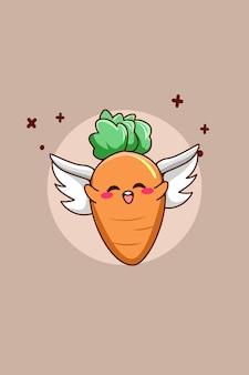 Carotte mignonne avec illustration de dessin animé mouche
