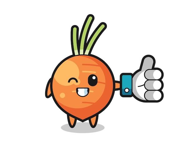 Carotte mignonne avec le symbole du pouce levé des médias sociaux, design de style mignon pour t-shirt, autocollant, élément de logo