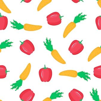 Carotte et paprika. modèle sans couture de poivron doux. nourriture végétarienne biologique. utilisé pour les surfaces de conception, les tissus, les textiles, le papier d'emballage