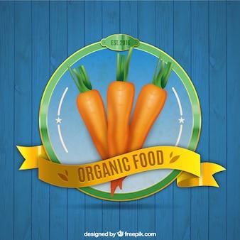 Carottes insigne d'aliments biologiques