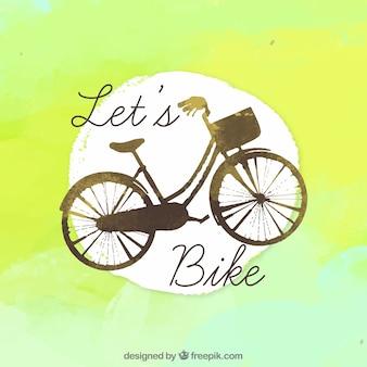 Carré d'aquarelle avec vélo ancien
