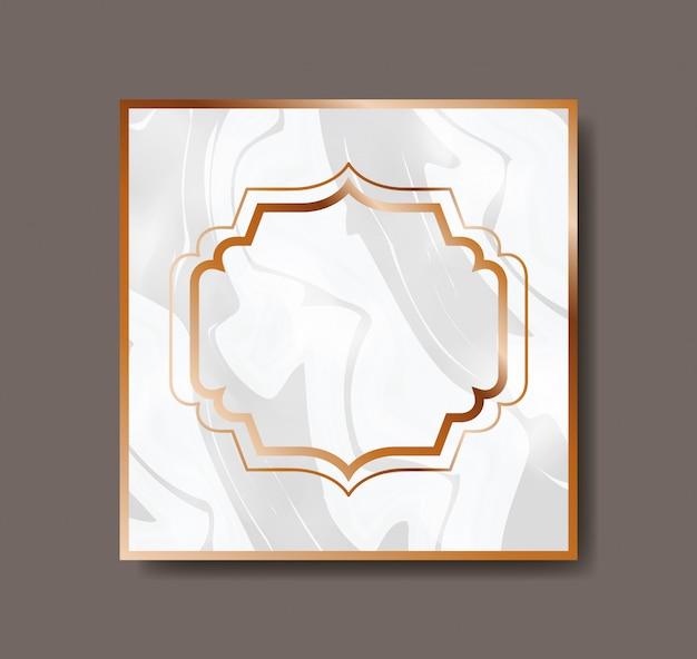 Carré doré avec texture en marbre de cadre victorien