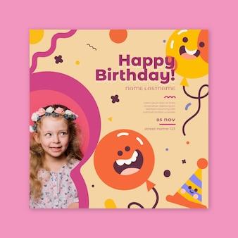 Carré de flyer d'anniversaire pour enfants
