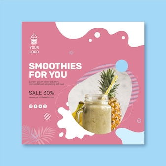 Carré de flyer de barre de smoothies