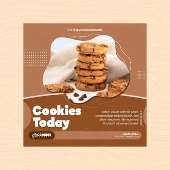 Carré de flyer de cookies au chocolat