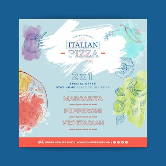 Carré de flyer de cuisine italienne