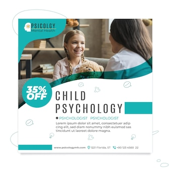 Carré de flyer de psychologie