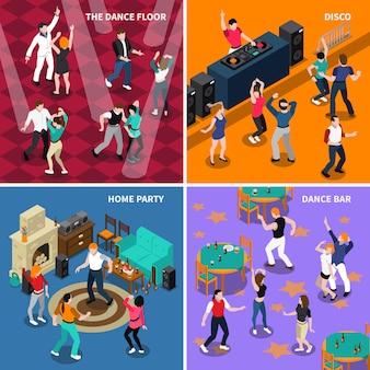 Carré d'icônes isométriques 4 personnes dansantes
