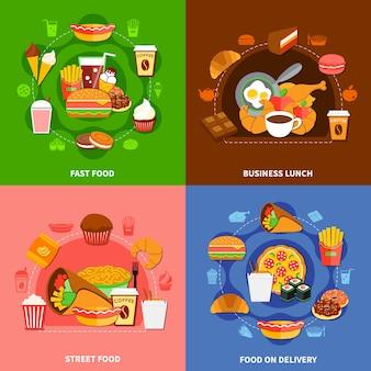 Carré d'icônes plat fast food 4