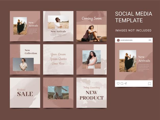 Carré de modèle de médias sociaux