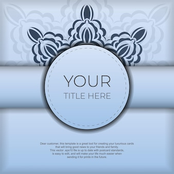 Carré préparation de cartes postales bleues avec de luxueux motifs noirs. modèle de carte d'invitation de conception d'impression avec ornement vintage.