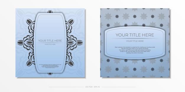 Carré préparation de cartes postales bleues avec de luxueux ornements noirs. modèle pour la conception d'une carte d'invitation imprimable avec des motifs vintage.