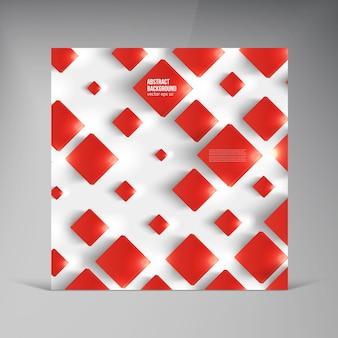 Carré vectoriel. carte de fond abstraite rouge.