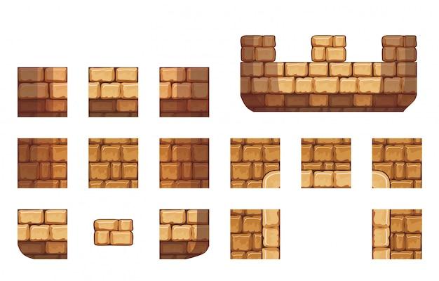Carreaux, ensemble, modèle, rocher, pour, créer, 2d, jeu, mur, arrière-plan