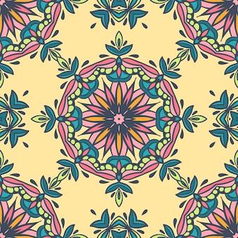 Carreaux orientaux damassé sans couture avec motif floral.