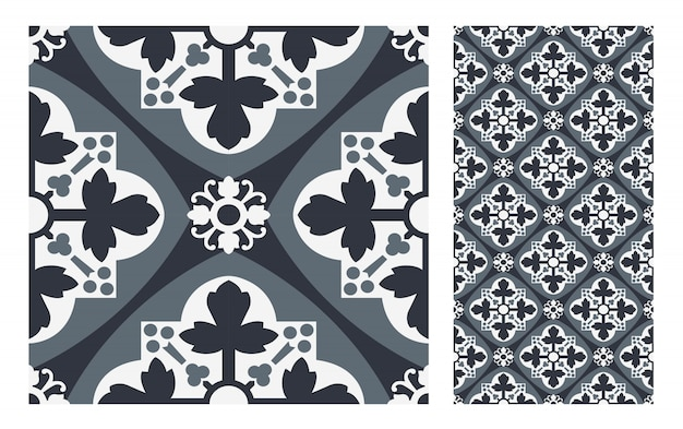 Carreaux vintage motifs design sans couture antique