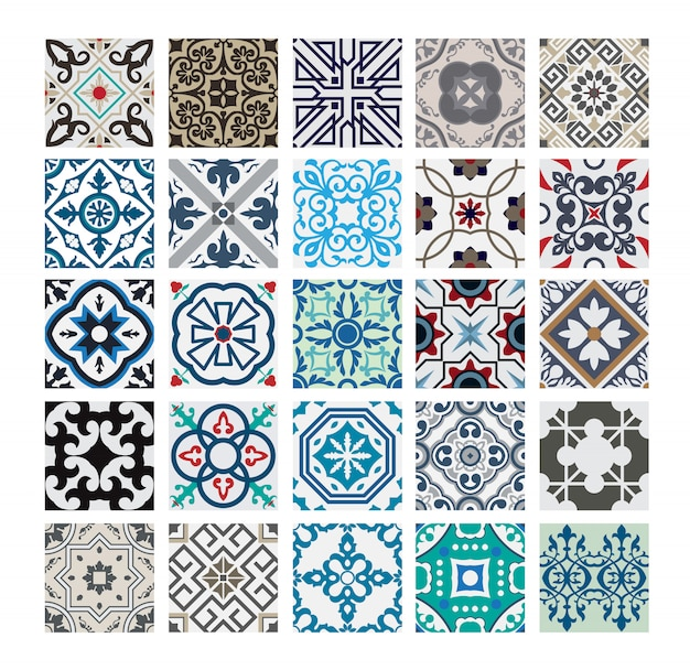 Carreaux vintage motifs portugais antique design sans couture en illustration vectorielle