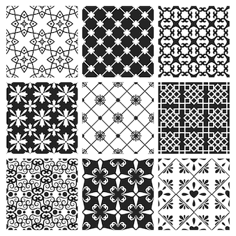 Carrelage de cuisine traditionnelle espagnole ou portugaise. set de céramique noire design intérieur marocain vector