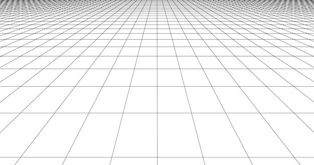 Carrelage de sol en grille perspective. lignes détaillées sur fond blanc.