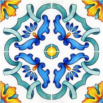 Carrelage traditionnel sicilien méditerranéen aquarelle dessiné à la main