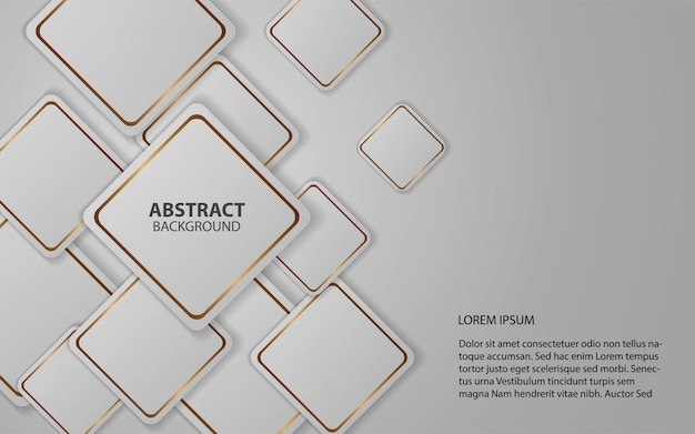 Les carrés blancs abstraits forment le fond avec la ligne d'or