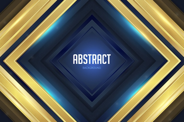 Carrés géométriques fond abstrait or bleu