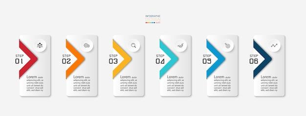 Carrés recouverts d'étiquettes par processus de travail en 6 étapes et idée de présentation. conception infographique.