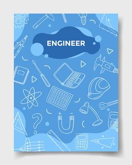 Carrière d'emplois d'ingénieur avec style doodle pour le modèle de bannières flyer livres et magazine