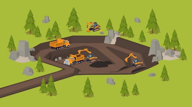 Carrière isométrique 3d lowpoly. site des fouilles