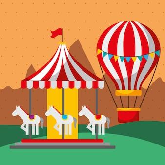 Carrousel et montgolfière fête foraine du carnaval