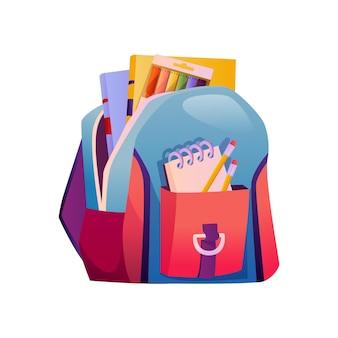 Cartable avec fournitures crayons et livres sac à dos isolé avec poches ouvertes manuel et crayons
