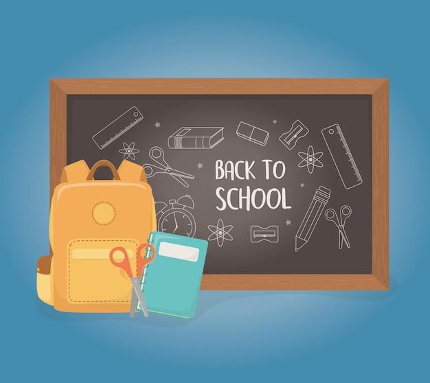 Cartable avec tableau et fournitures à l'école