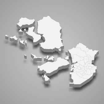 Carte 3d de la corée du sud