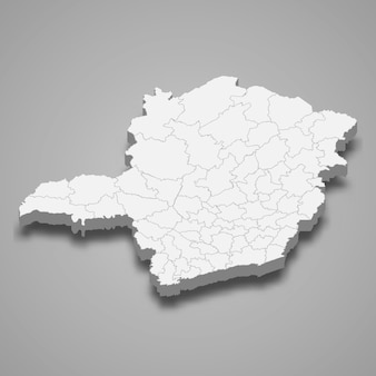 Carte 3d de l'état du brésil