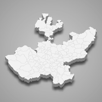 Carte 3d de l'état de jalisco au mexique