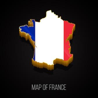 Carte 3d De La France Vecteur Premium