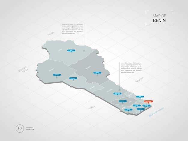 Carte 3d isométrique du bénin. carte vectorielle stylisée avec villes, frontières, capitale, divisions administratives et marques de pointeur