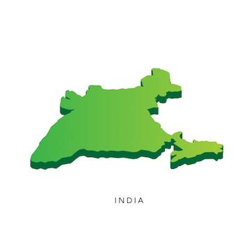 Carte 3d isométrique moderne de l'inde
