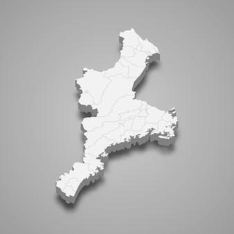 Carte 3d de la préfecture du japon