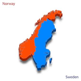 Carte 3d relations entre la norvège et la suède