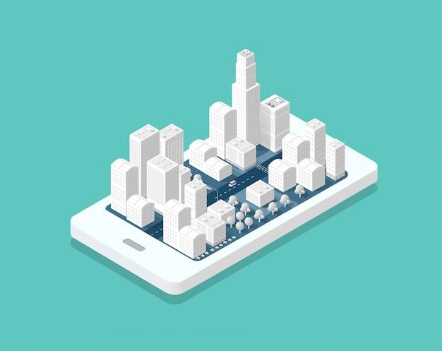 Carte 3d ville isométrique