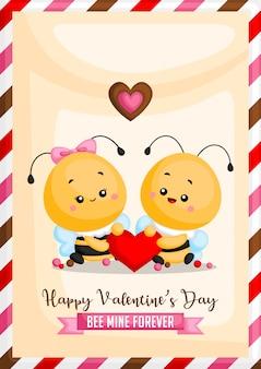 Carte d'abeille de valentine