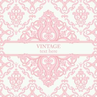 Carte avec abstrait baroque royal fond en rose