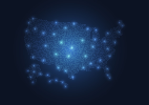 Carte abstraite des états-unis créée à partir de points