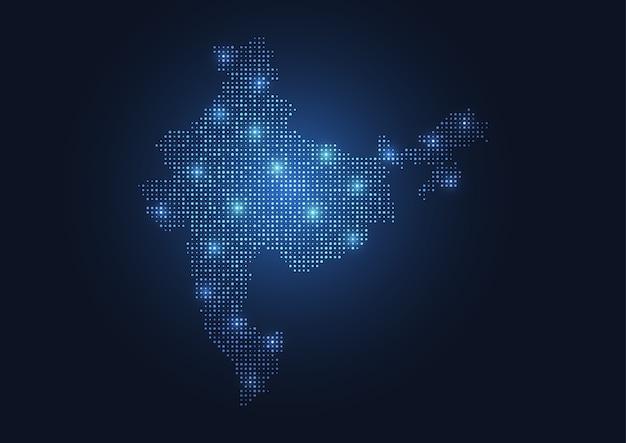 Carte abstraite de l'inde créée à partir de points