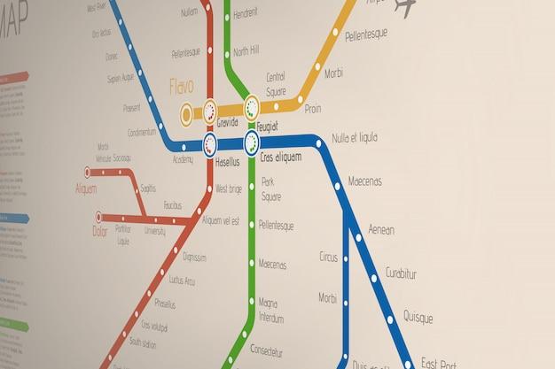 Carte abstraite réaliste des itinéraires de métro